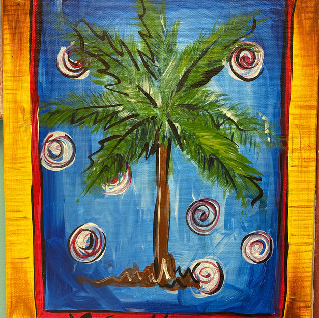 Palmetto with Swirls Canvas