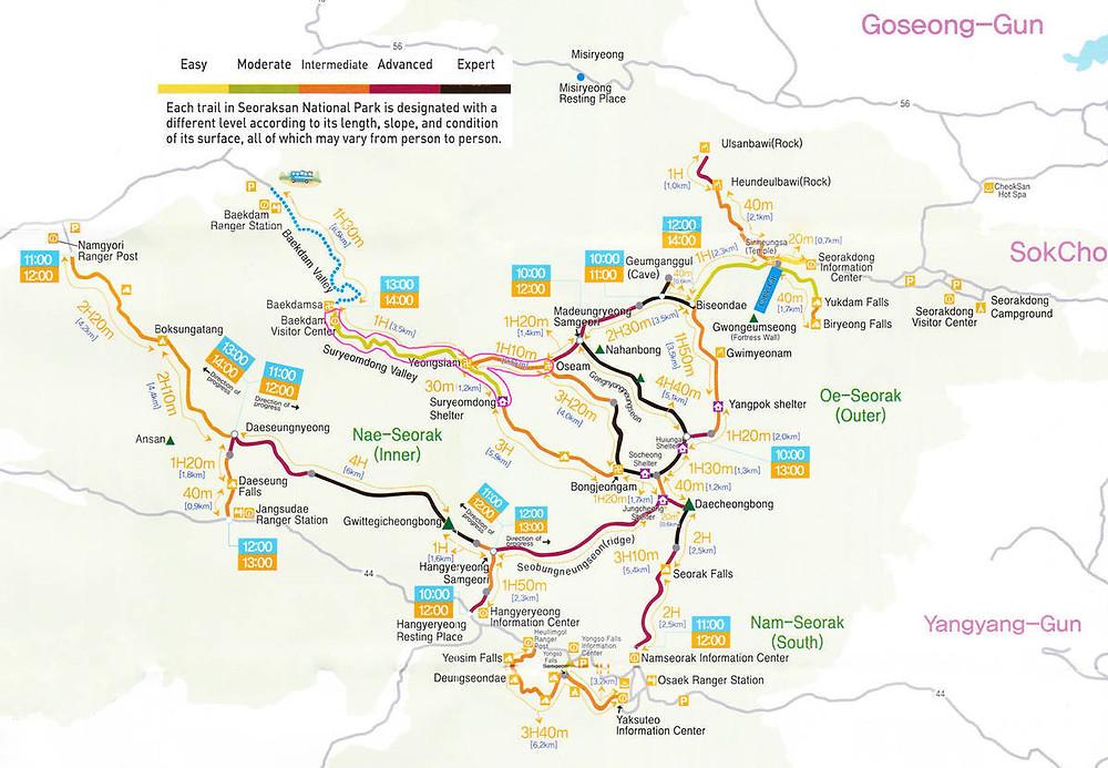Plan du parc national de Seoraksan
