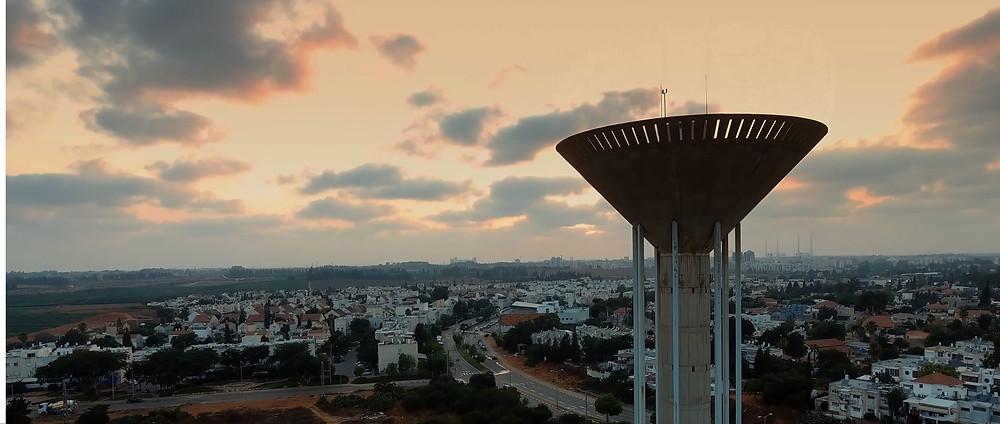 צילום מהאוויר שקיעה בבית אליעזר