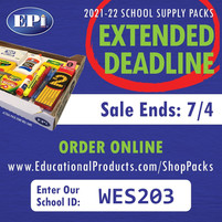 DEADLINE EXTENDED TO 7/4!  Order School Supplies for the 2021-22 School Year!