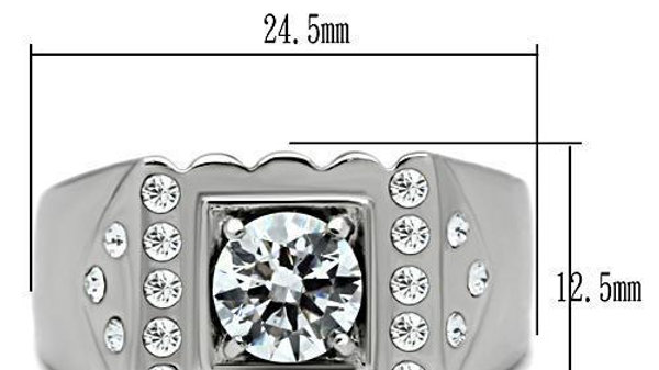 TK315 High Polished (No Plating) Stainless Steel Ring With AAA Grade CZ in Clear