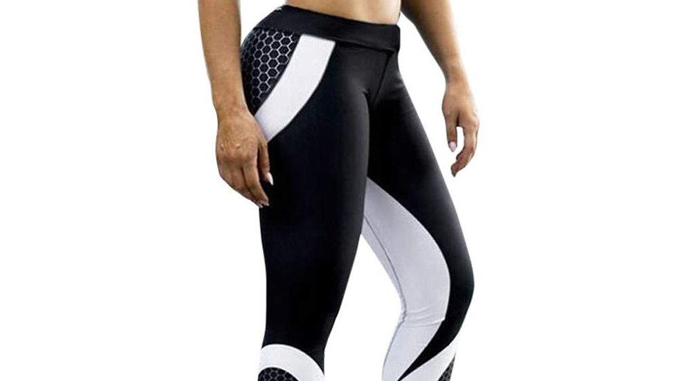 ESPORTS Black/White Women High Waist Sports Leggings