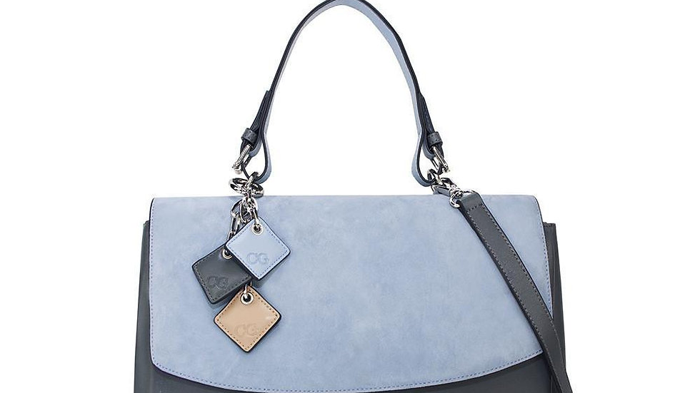 Simonetta Leather Handbag -Serenity / Charcoal