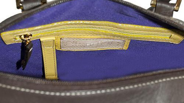 Make a Statement Leather Handbag-Chocolate/Citric Yellow