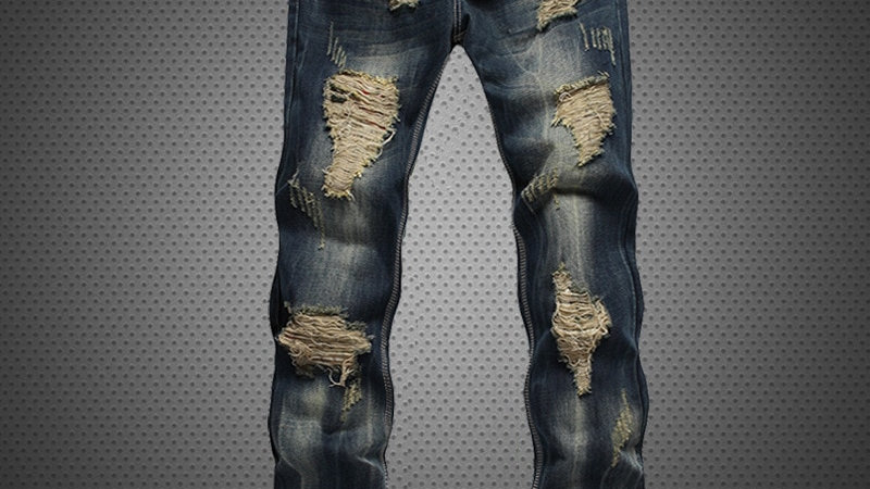 Straight  Leg Destroyed Jeans Brand Slim Casual Ripped Jeans