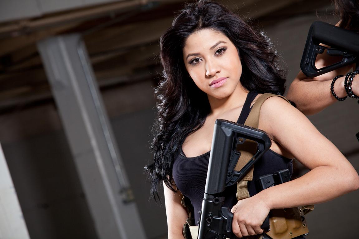 beautiful girl holding ar15 rifle