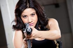 girl shooting ar15 pistol SBR drum
