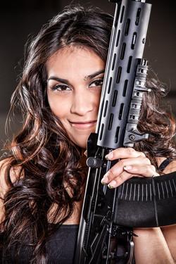 pretty girl with ak47 tactical guns