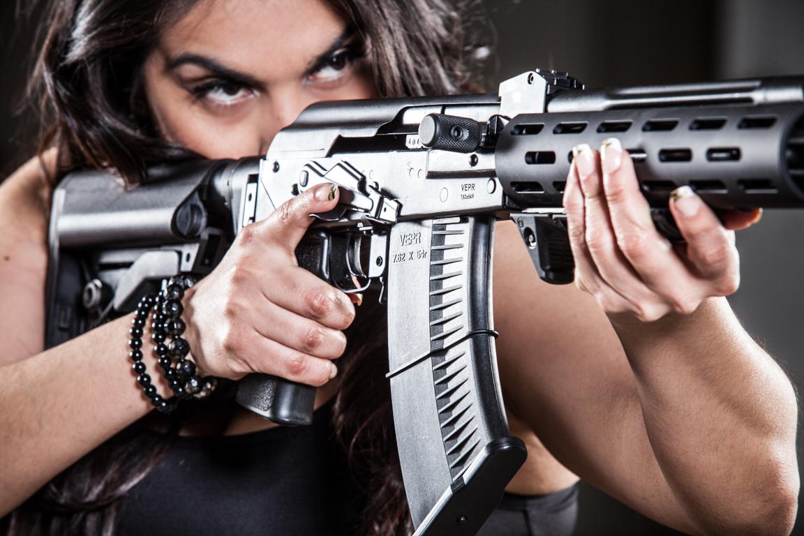 girl shooting ak47 vepr 54r tactical