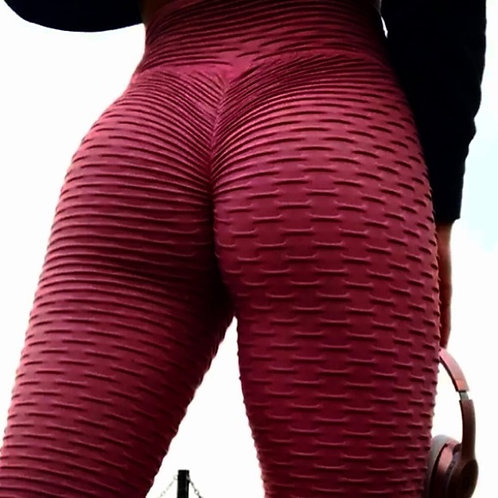 Brazilian Supplex Honeycomb Leggings - Wine