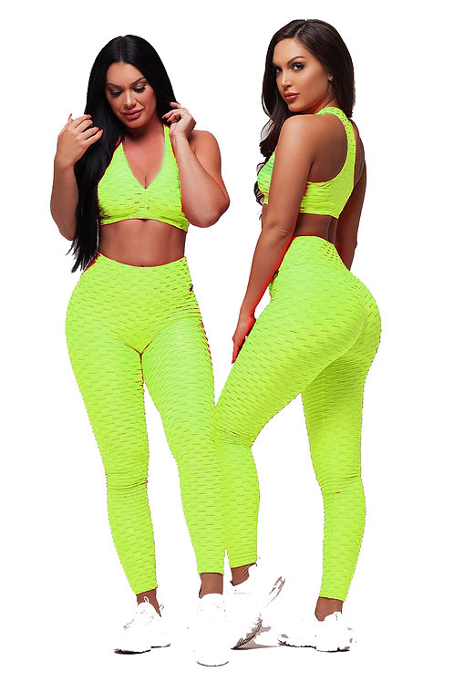 Brazilian Supplex Honeycomb Set - Leggings and Top - Neon Lime