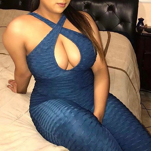 Brazilian Supplex Full Body Jumpsuit Booty Scrunch - Dark Blue