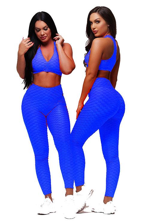 Brazilian Supplex Honeycomb Set - Leggings and Top - Royal Blue