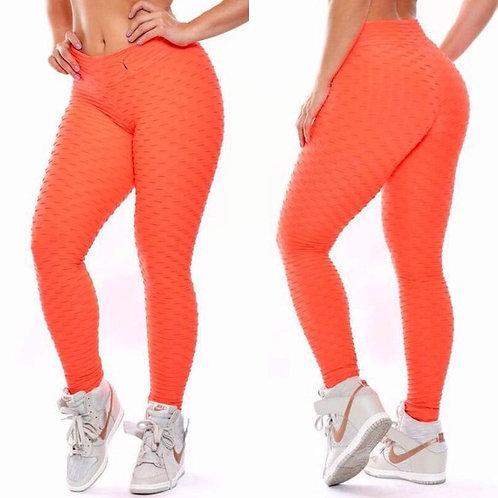 Brazilian Supplex Honeycomb Leggings - Orange