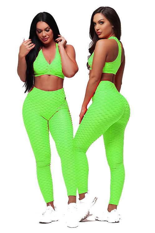 Brazilian Supplex Honeycomb Set - Leggings and Top - Neon Green