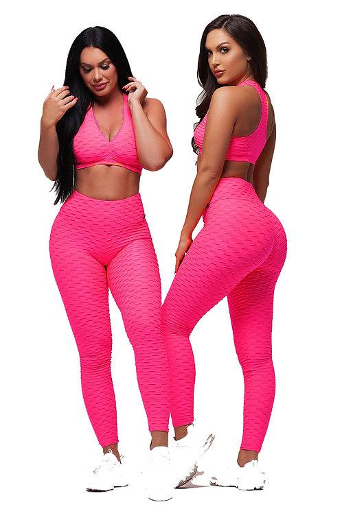 Brazilian Supplex Honeycomb Set - Leggings and Top - HOT Pink