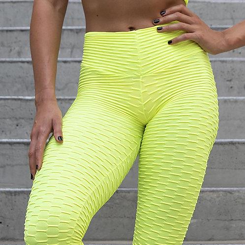 Brazilian Supplex Honeycomb Leggings - Neon Lime