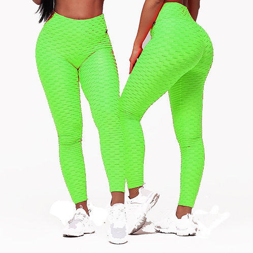 Brazilian Supplex Honeycomb Leggings - Neon Green