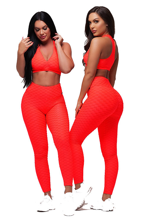 Brazilian Supplex Honeycomb Set - Leggings and Top - Fire Red