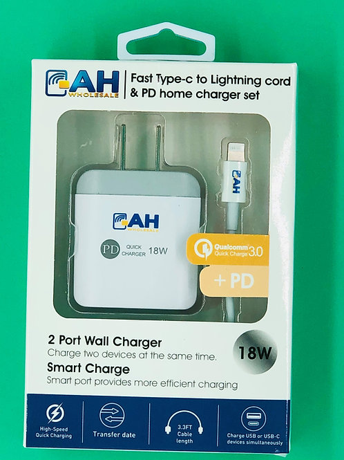 Super Fast Combo Set 2 Port 18W PD Wall Charger with iPhone Charging Cable