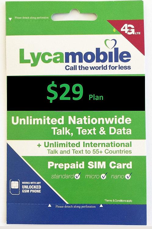 Lycamobile $29 Plan Sim Cards Include 30 Days Plan