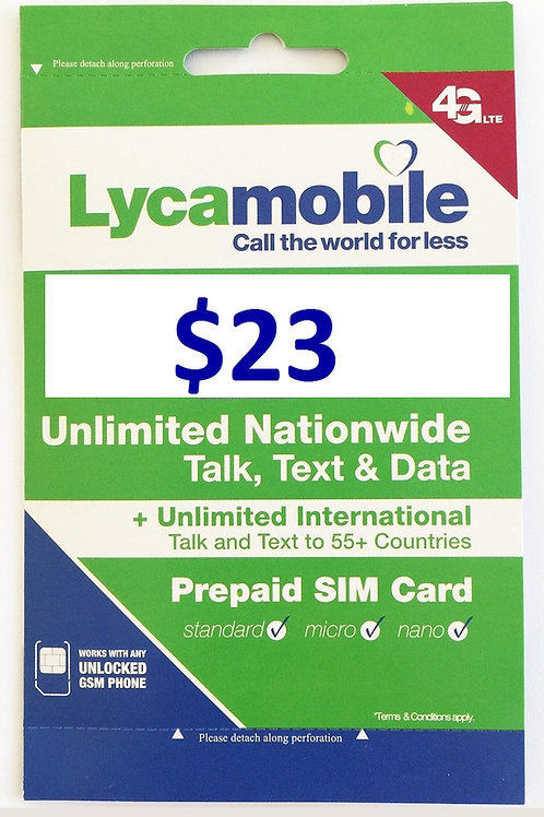 Wholesale Lycamobile Sim Cards Include $23 Plan