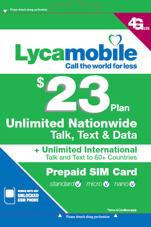 Lycamobile $23 Plan Sim Cards Include 2 Month Service