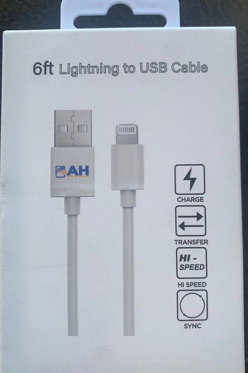 6 Feet AH Brands Lightning To USB Data Cable