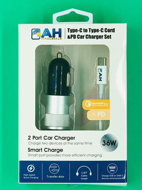 Super Fast 2 Port 18W PD- USB Car Charger Includes Type C to C Phone Charging Ca