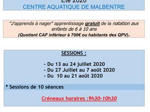 """Opération """"j'apprends à nager"""" au Centre aquatique de Malbentre"""