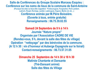 23-24-25 Septembre Week-end culturel, écologique et festif à Saint-Antoine…