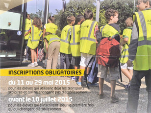 Transports scolaires, inscriptions 2015/2016