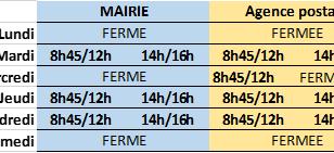 MAIRIE et AGENCE DE POSTE COMMUNALE :  ORAIRES D'ETE