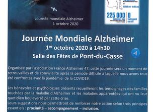 Journée Mondiale Alzheimer 1er octobre 2020