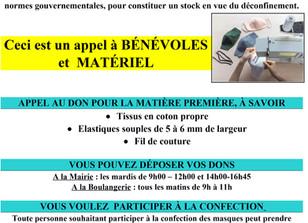 APPEL A BENEVOLES ET MATERIEL POUR LA CONFECTION  DE MASQUES EN TISSU - Grand public