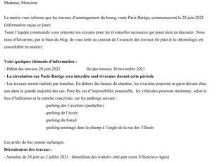 Information les travaux d'aménagement du bourg, route Paris Barège, débuteront le 28 juin 2021