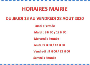 MAIRIE HORAIRES D'ETE