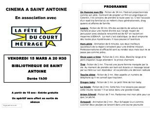 Fête du court métrage à St Antoine !