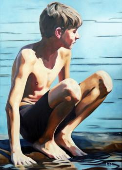 crouching boy