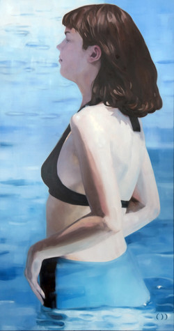 girl in the water, oil on canvas 150x80