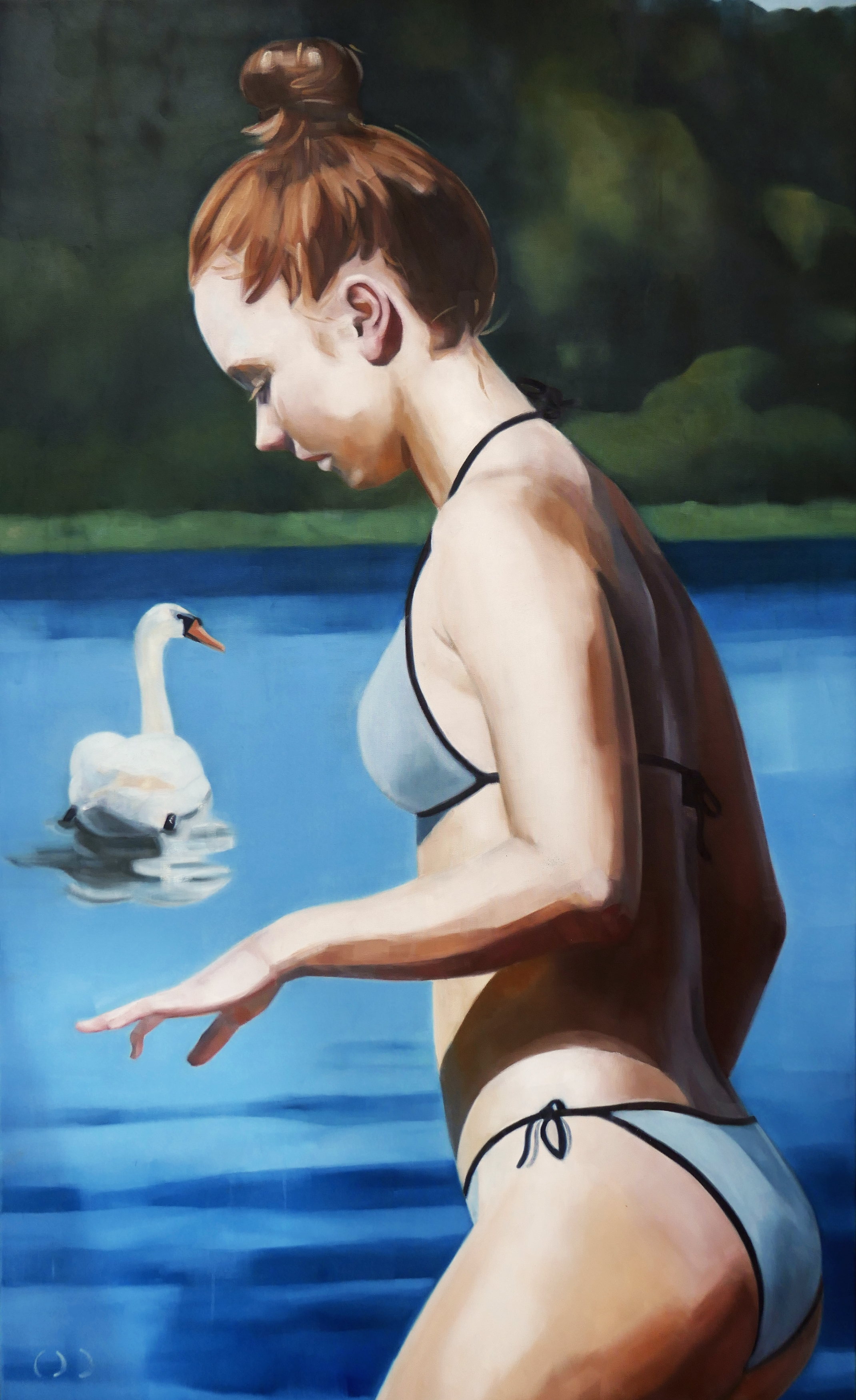 swan, oil on canvas, 150x90x2cm 2020