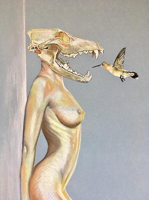 SKULL GIRL WITH HUMMINGBIRD