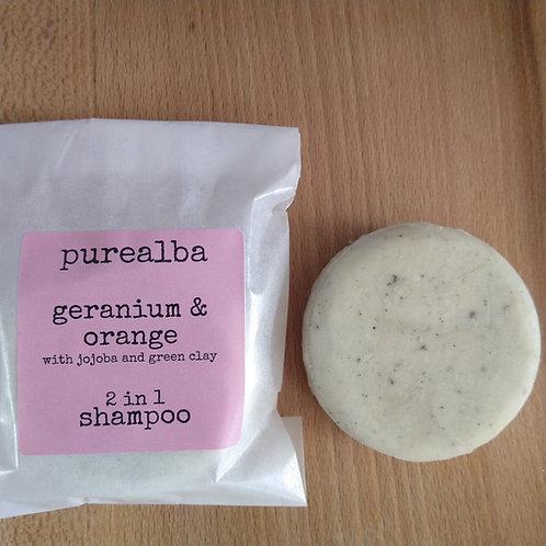 Geranium & Orange shampoo bar