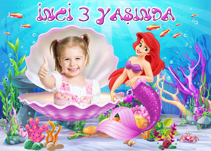 Küçük Deniz Kızı Ariel Eflatun Temalı Doğum Günü