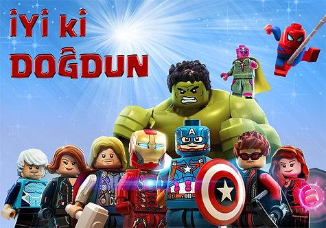 Lego Avengers Temalı Doğum Günü Afiş2