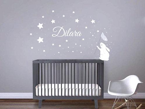 Yıldız Tavşan İsimli Duvar Sticker Çıkartma