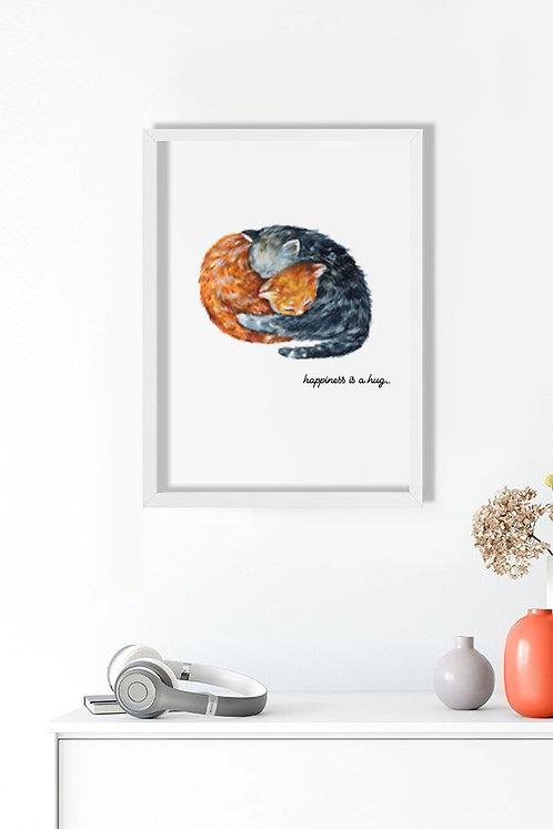 Kucaklaşan Kediler Tablo Poster Kanvas