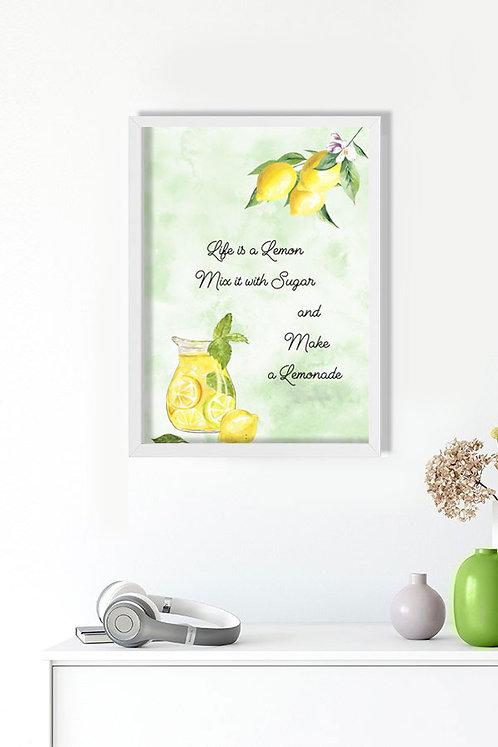 Life Motto Lemon Tablo Poster Kanvas