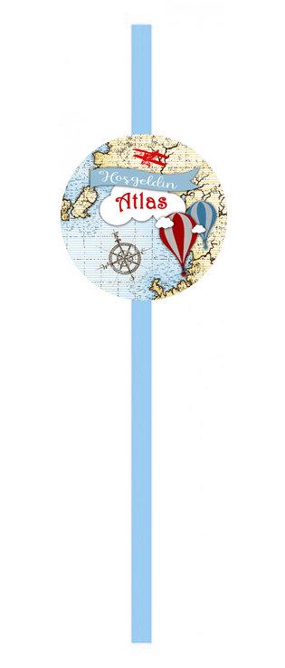 Atlas Harita Balon Uçak Doğum Günü Pipet