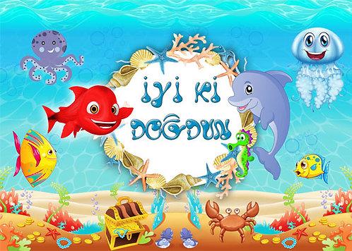 Kırmızı Balık Temalı Afiş İyi ki Doğdun 2